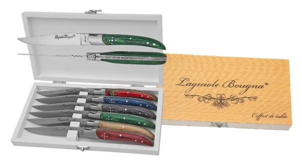 Coffret de 6 couteaux de table Laguiole manches colorés