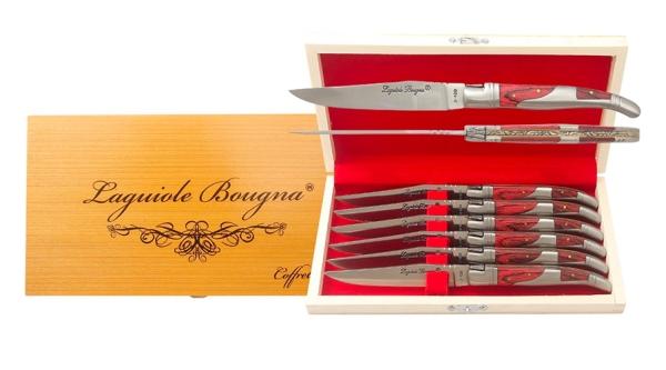 Coffret de couteaux de table Laguiole inox et bois bordeaux