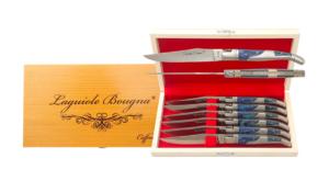 Coffret de couteaux de table Laguiole inox et bois bleu